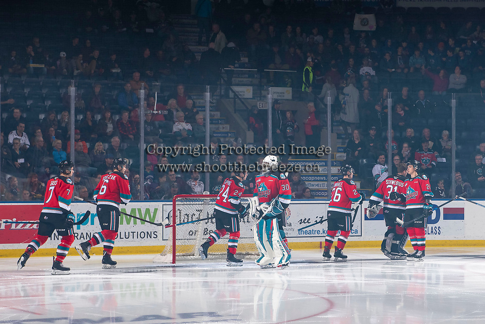 KELOWNA, BC - OCTOBER 12: The Kelowna Rockets enter take part in a pre-game ritual against the Kamloops Blazers at Prospera Place on October 12, 2019 in Kelowna, Canada. (Photo by Marissa Baecker/Shoot the Breeze)