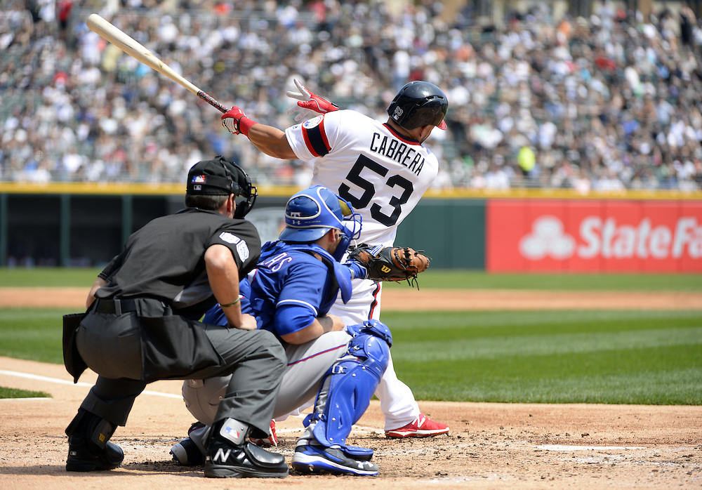 CHICAGO - APRIL 24:  Melky Cabrera #53 of the Chicago White Sox bats against the Texas Rangers on April 24, 2016 at U.S. Cellular Field in Chicago, Illinois.  The White Sox defeated the Rangers 4-1.  (Photo by Ron Vesely)   Subject: Melky Cabrera