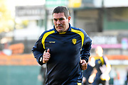 Burton Albion manager Nigel Clough jogs off at half time during the EFL Sky Bet League 1 match between Plymouth Argyle and Burton Albion at Home Park, Plymouth, England on 20 October 2018.