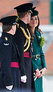 The Duke and Duchess of  Cambridge attend the Irish Guards' annual St Patrick's Day Parade at Mons Barracks, Aldershot, Hampshire.<br /> Picture date Monday 17th March, 2014.<br /> Picture by Christopher Ison. Contact +447544 044177 chrisison@mac.com