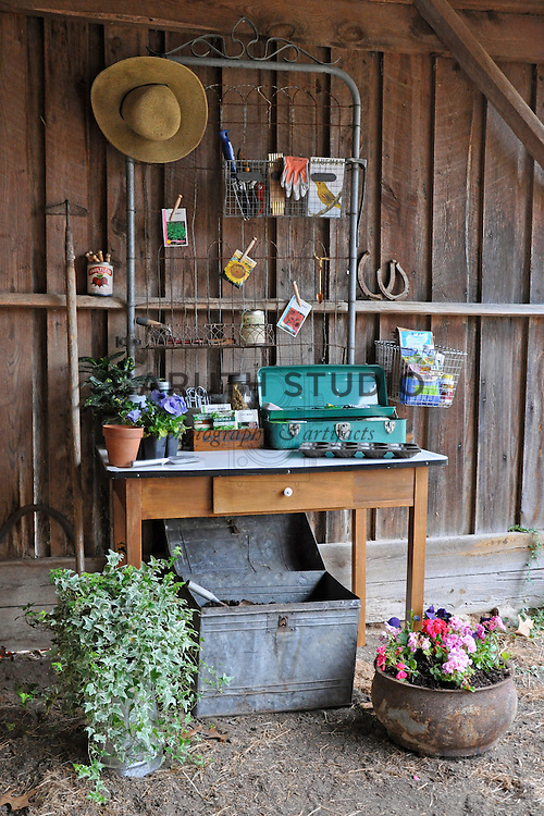 Potting bench in shed made from vintage components
