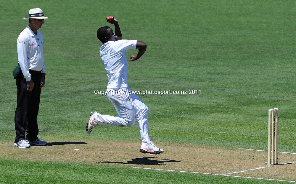 Brian Vetori bowling on day 1 of the first cricket test, New Zealand v Zimbabwe at McLean Park. Thursday 26 January 2012. Napier, New Zealand. Photo: Andrew Cornaga/Photosport.co.nz