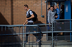 BURNLEY, ENGLAND - Saturday, August 31, 2019: Liverpool's captain Jordan Henderson (L) and Andy Robertson arrive before the FA Premier League match between Burnley FC and Liverpool FC at Turf Moor. (Pic by David Rawcliffe/Propaganda)