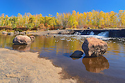 Rainbow Falls in autumn<br /> Whiteshell Provincial Park<br /> Manitoba<br /> Canada