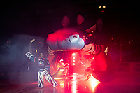 KELOWNA, CANADA - SEPTEMBER 22:  Roman Basran #30 of the Kelowna Rockets enters the ice against the Kamloops Blazers on September 22, 2018 at Prospera Place in Kelowna, British Columbia, Canada.  (Photo by Marissa Baecker/Shoot the Breeze)  *** Local Caption ***