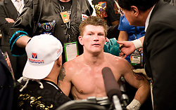 Ricky Hatton clears his head after Manny Pacquiao (49-3-2, 37 KOs)knocked him out in two rounds on Saturday night at the MGM Grand Garden Arena in Las Vegas. Hatton came out aggressively but was dropped by twice by Pacquiao in round one. In round two, Pacquiao dropped Hatton for the count with a left to the chin. Time was 2:59. Hatton was down for several minutes..