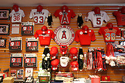 ANAHEIM, CA - MAY 15:  Los Angeles Angels of Anaheim memorabilia is for sale at the game against the Oakland Athletics on Tuesday, May 15, 2012 at Angel Stadium in Anaheim, California. The Angels won the game 4-0. (Photo by Paul Spinelli/MLB Photos via Getty Images)