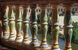 Colourful tiling on balcony at the Plaza de Espana; Seville,