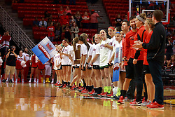05 November 2016:  Illinois State's women's Soccer team gets acknowledgement from the crowd after defeating the Evansvile Purple Aces for the Missouri Valley Championship earlier in the day,  during an NCAA  mens basketball game where the Quincy Hawks lost to the Illinois State Redbirds in an exhibition game at Redbird Arena, Normal IL