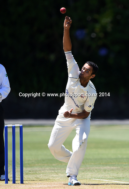Jeet Raval during the Plunket Shield 4 day cricket match between Auckland Aces and Central Stags at the Eden Park Outer Oval, Auckland, New Zealand. Friday 19 December 2014. Photo: Andrew Cornaga/www.Photosport.co.nz