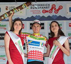 07.07.2017, St. Johann Alpendorf, AUT, Ö-Tour, Österreich Radrundfahrt 2017, 5. Etappe von Kitzbühel nach St. Johann/Alpendorf (212,5 km), Siegerehrung, im Bild Stephan Rabitsch (AUT, Team Felbermayr Simplon Wels) im Bergtrikot // Stephan Rabitsch of Austria (Team Felbermayr Simplon Wels) wearing the king of the mountains jersey on Podium during winner ceremony for the 5th stage from Kitzbuehel to St. Johann/Alpendorf (212,5 km) of 2017 Tour of Austria. St. Johann Alpendorf, Austria on 2017/07/07. EXPA Pictures © 2017, PhotoCredit: EXPA/ Reinhard Eisenbauer