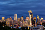 Seattle Skyline and Space Needle from Queen Anne Hill during Sunset