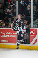KELOWNA, CANADA - DECEMBER 4: Cole Linaker #26 of Kelowna Rockets enters the ice to accept the first star of the game against the Medicine Hat Tigerson December 4, 2015 at Prospera Place in Kelowna, British Columbia, Canada.  (Photo by Marissa Baecker/Shoot the Breeze)  *** Local Caption *** Cole Linaker;