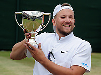 Tennis - 2019 Wimbledon Championships - Week Two, Saturday (Day Twelve)<br /> <br /> Men's Final of the Quad Wheelchair singles<br /> <br /> Dylan Alcot (AUS) v Andy Lapthorne (GBR)<br /> <br /> Dylan Alcot, with the trophy on Court 12.<br /> <br /> COLORSPORT/ANDREW COWIE