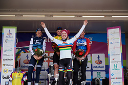 Anna van der Breggen (NED) accepts the team award on behalf of her Boels Dolmans team mates at Healthy Ageing Tour 2019 - Stage 5, a 124.3 km road race in Midwolda, Netherlands on April 14, 2019. Photo by Sean Robinson/velofocus.com