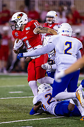 NORMAL, IL - September 07: Cole Blackman powers his way throufh a trio of Eagles defenders during a college football game between the ISU (Illinois State University) Redbirds and the Morehead State Eagles on September 07 2019 at Hancock Stadium in Normal, IL. (Photo by Alan Look)