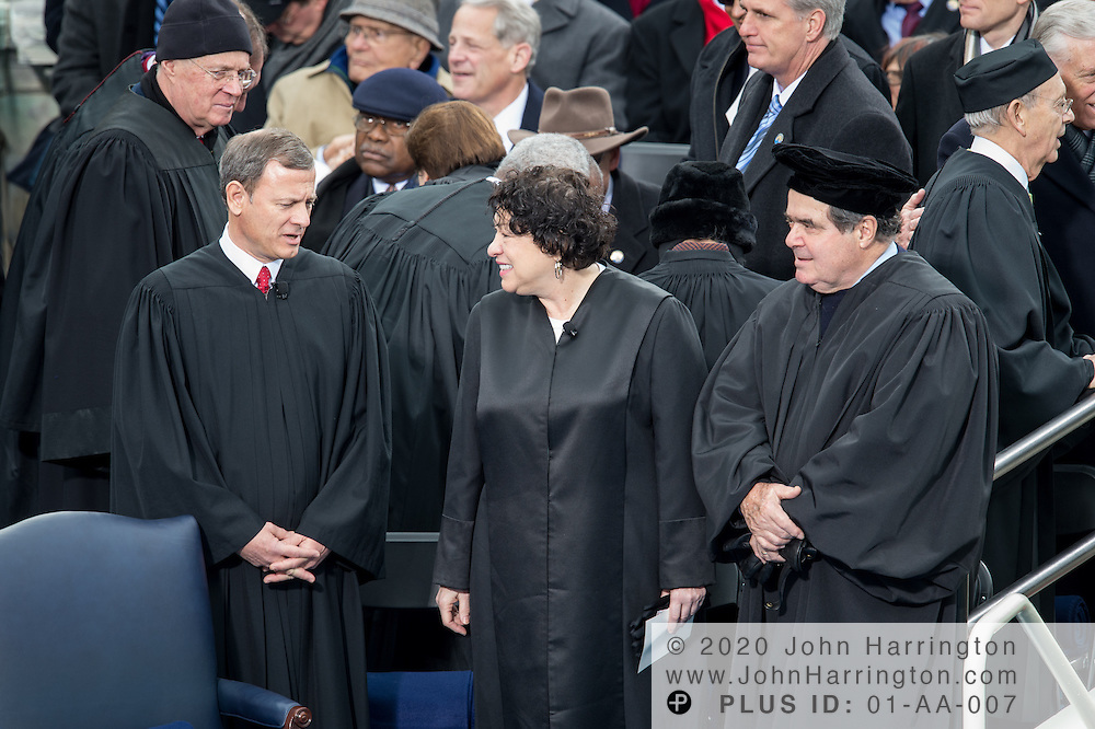 Chief Justice John Roberts with Justices Sonya Sotamayor and Antonin Scalia at the 57th Presidential Inauguration of President Barack Obama at the U.S. Capitol Building in Washington, DC January 21, 2013.