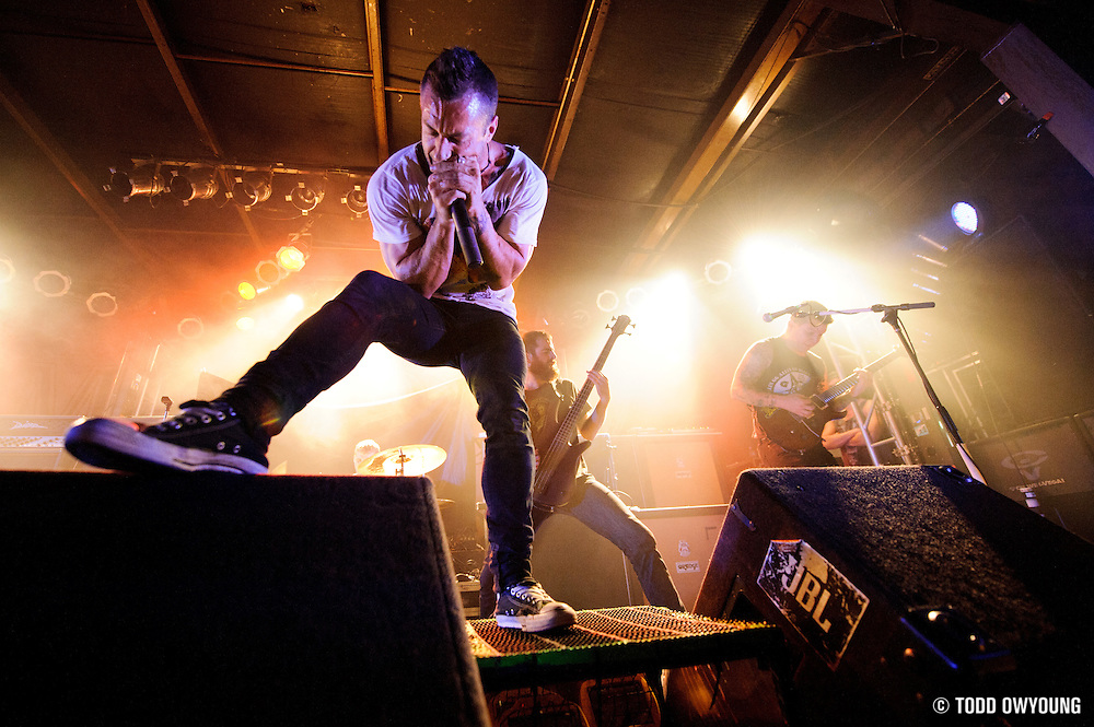 The Dillinger Escape Plan performing at Pop's in Sauget, Illinois on November 13, 2011. © Todd Owyoung.