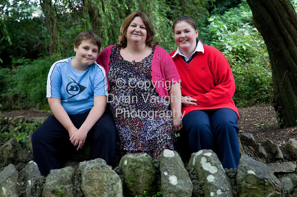 14/7/2009.Breda Dunne from Abbey Road in Clonmel pictured with Conor aged 11 and Catherine aged 15..Picture Dylan Vaughan
