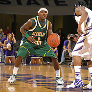 Cleveland State guard Carlos English (1) against pressure from Kansas State's Blake Young (R) in the first half at Bramlage Coliseum in Manhattan, Kansas, December 5, 2006.  K-State beat the Vikings 93-60.<br />