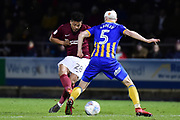 Northampton Town midfielder (on loan from Legia Warsaw) Hildeberto Pereira (28) takes a shot at goal  during the EFL Sky Bet League 1 match between Northampton Town and Shrewsbury Town at Sixfields Stadium, Northampton, England on 20 March 2018. Picture by Dennis Goodwin.