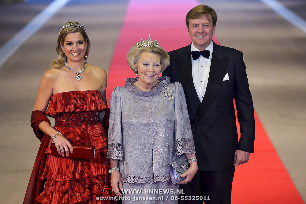 Crown Prince Willem-Alexander, right, Queen Beatrix, center, and Princess Maxima, left, arrive for a dinner with members of the royal family and guests at the Rijksmuseum in Amsterdam, The Netherlands, on Monday night, April 29, 2013. HANDOUT/ROBIN UTRECHT