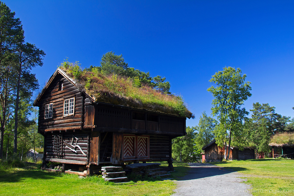 Europe, Norway, Molde. Barnhouse at the Romsdal Open-Air Museum.