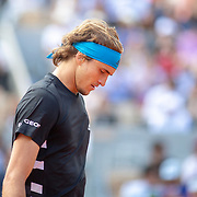 PARIS, FRANCE June 06.  Alexander Zverev of Germany during his match against Novak Djokovic of Serbia on Court Philippe-Chatrier during the Men's Singles Quarter Final match at the 2019 French Open Tennis Tournament at Roland Garros on June 6th 2019 in Paris, France. (Photo by Tim Clayton/Corbis via Getty Images)