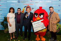 """Maya Rudolph, voice of """"Matilda"""", Josh Gad, voice of """"Chuck"""", United Nations Secretary-General Ban Ki-moon, """"Red"""" and Jason Sudeikis, voice of """"Red"""" (L to R) pose for a photo during the """"Angry Birds for a Happy Planet"""" campaign at the UN headquarters in New York, March 18, 2016. UN Secretary-General Ban Ki-moon appointed Red from the Angry Birds as Honorary Ambassador for Green on the International Day of Happiness and encouraged young people to take action on climate change and make the Angry Birds happy. EXPA Pictures © 2016, PhotoCredit: EXPA/ Photoshot/ Li Muzi<br /> <br /> *****ATTENTION - for AUT, SLO, CRO, SRB, BIH, MAZ, SUI only*****"""