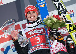 04.01.2015, Bergisel Schanze, Innsbruck, AUT, FIS Ski Sprung Weltcup, 63. Vierschanzentournee, Innsbruck, Siegerehrung, im Bild Richard Freitag (GER, 1. Platz) // first placed Richard Freitag of Germany celebrate on podium during the awards ceremony for the 63rd Four Hills Tournament of FIS Ski Jumping World Cup at the Bergisel Schanze in Innsbruck, Austria on 2015/01/04. EXPA Pictures © 2015, PhotoCredit: EXPA/ Jakob Gruber