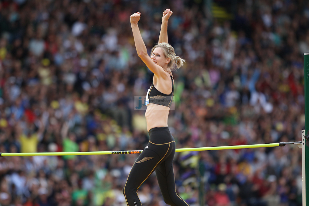Amy Acuff celebrates in the finals for the high jump during day 9 of the U.S. Olympic Trials for Track & Field at Hayward Field in Eugene, Oregon, USA 30 Jun 2012..(Jed Jacobsohn/for The New York Times)....