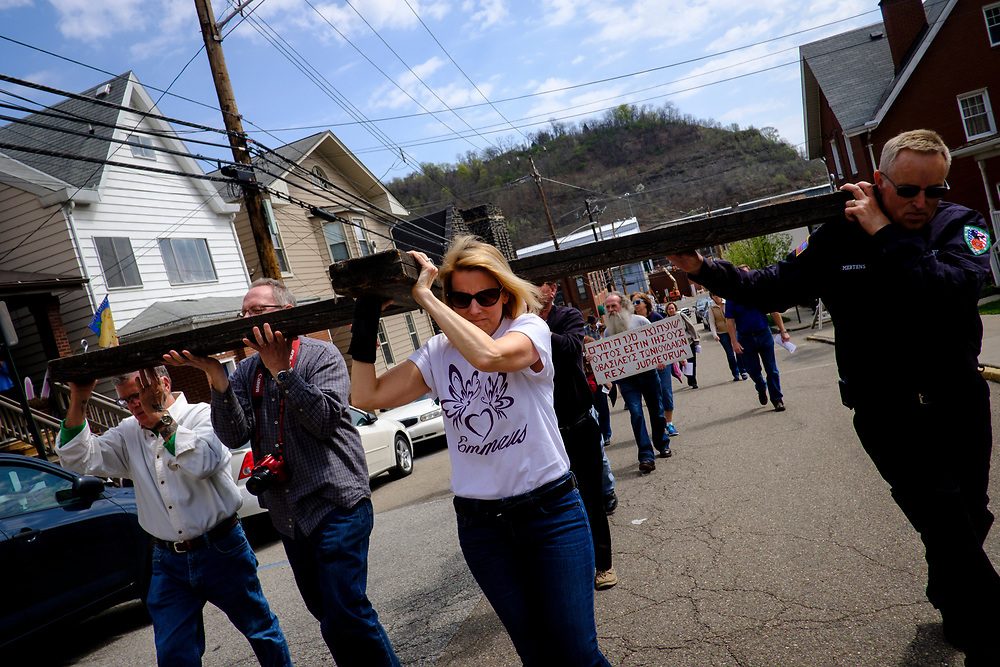 """Lori Mizgorski of Shaler, Pa. joined the Christian faithful as they act out """"The Drama of the Cross"""" in the streets of Etna, Pa. on April 14, 2017, in Etna, Pa."""