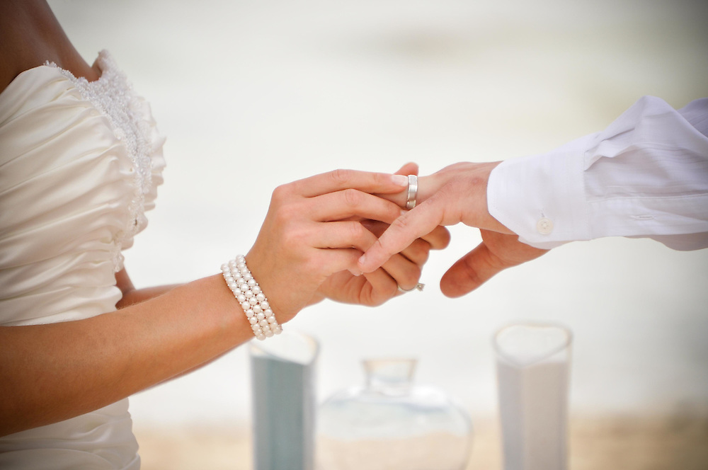 Amy & Sebastien exchange rings on the beach at Dreams Resort, Tulum, Mexico