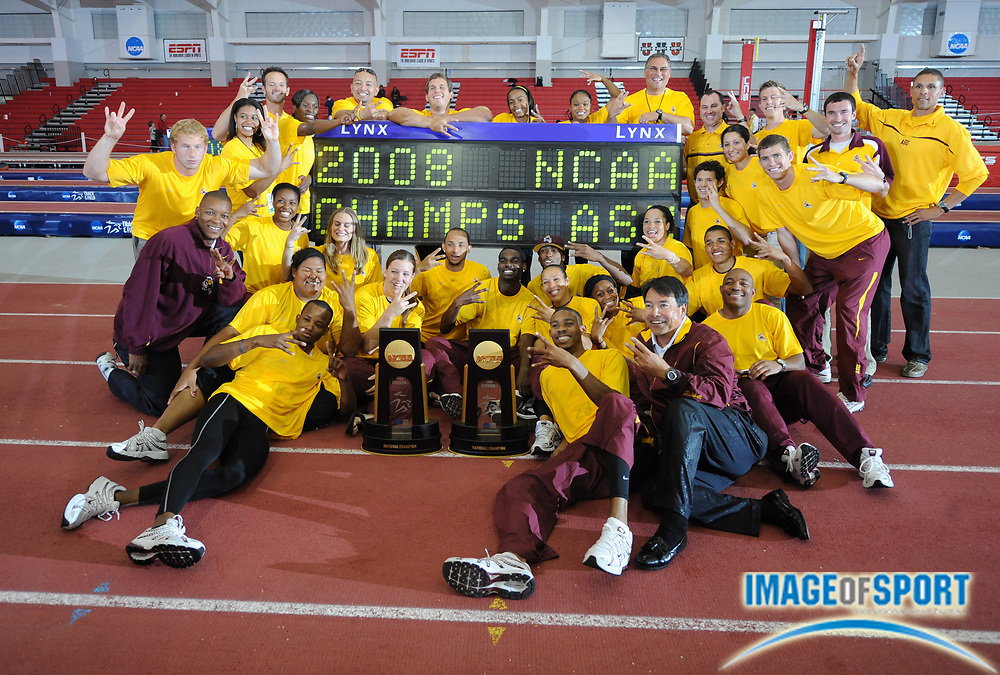 Mar 15, 2008; Fayetteville, AR, USA; The Arizona State men and women pose with coaches Greg Kraft and Dan O'Brien after sweeping the team titles in the NCAA indoor track and field championships at the Randal Tyson Center.