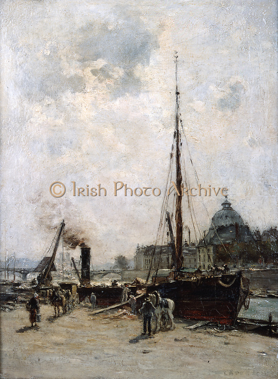 View of the Institute' oil on canvas. Charles Lapostolet (1824-1890) French artist.  View across the River Seine, Paris, to the French Institute.  In foreground  a sailing barge is anchored.