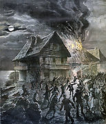 Civil unrest on the Island of Sark, Channel Islands. Mob setting fire to a house.   From 'Le Petit Journal', Paris, 28 May 1892.