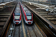 Trains on the tracks.<br /> Presented the new services plate to Rome's Termini railway station, new surfaces for 6,500 square meters. Of which 4,550 dedicated to food &amp; beverage and logistics. Approximately 870 tons of steel and 1,000 cubic meters of concrete. For a total investment of 125 million euro. Rome, Italy. 23th February  2016