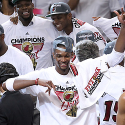 Jun 21, 2012; Miami, FL, USA; Miami Heat power forward Chris Bosh celebrates after winning the 2012 NBA championship at the American Airlines Arena. Miami won 121-106. Mandatory Credit: Derick E. Hingle-US PRESSWIRE