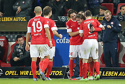 15.12.2012, Coface Arena, Mainz, GER, 1. FBL, 1. FSV Mainz 05 vs VfB Stuttgart, 17. Runde, im Bild Jubel Mainz 05 nach dem Tor zum 2-1 durch Nicolai MUELLER - MULLER (FSV Mainz 05 - 27) hier zwischenn Zdenek POS PECH (FSV Mainz 05 - 3) und Julian BAUMGARTLINGER (FSV Mainz 05 - 14) // during the German Bundesliga 17th round match between 1. FSV Mainz 05 and VfB Stuttgart at the Coface Arena, Mainz, Germany on 2012/12/15. EXPA Pictures © 2012, PhotoCredit: EXPA/ Eibner/ Gerry Schmit..***** ATTENTION - OUT OF GER *****