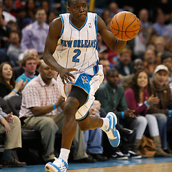 Mar 08, 2010; New Orleans, LA, USA; New Orleans Hornets guard Darren Collison (2) drives with the ball against the Golden State Warriors during the second half at the New Orleans Arena. The Hornets defeated the Warriors 135-131. Mandatory Credit: Derick E. Hingle-US PRESSWIRE