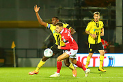 Burton Albion forward Lucas Akins (10) appeals for a foul as Nottingham Forest midfielder Matthew Cash (14) challenges during the EFL Cup match between Burton Albion and Nottingham Forest at the Pirelli Stadium, Burton upon Trent, England on 30 October 2018.