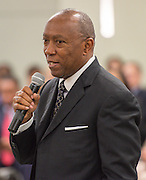 Houston Mayor Sylvester Turner comments during swearing in ceremonies for newly elected Houston ISD trustees, January 14, 2016.