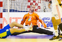 Thierry Omeyer of France during handball match between France and Slovenia in  Main Round of 10th EHF European Handball Championship Serbia 2012, on January 22, 2012 in Spens Hall, Novi Sad, Serbia. France defeated Slovenia 28-26. (Photo By Vid Ponikvar / Sportida.com)