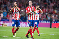 Atletico de Madrid's Juanfran Torres, Diego Godin; Yannick Carrasco during La Liga match between Atletico de Madrid and Malaga CF at Wanda Metropolitano in Madrid, Spain September 16, 2017. (ALTERPHOTOS/Borja B.Hojas)