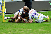 Wasps wing Marcus Watson  scores a try during the Aviva Premiership match between Wasps and Exeter Chiefs at the Ricoh Arena, Coventry, England on 18 February 2018. Picture by Dennis Goodwin.