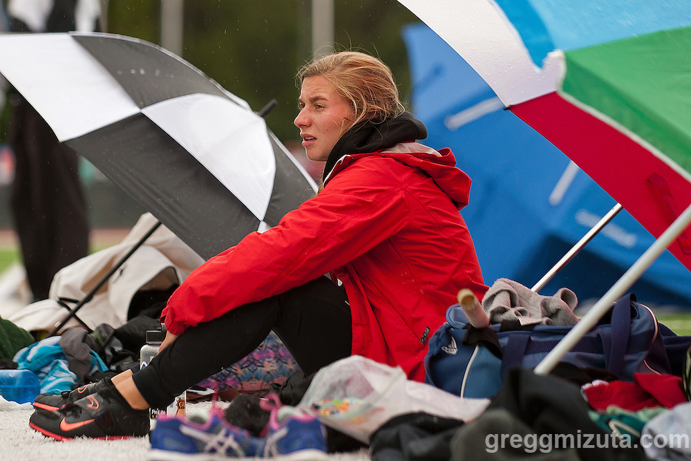 Boise senior Emma Bellan waits during the Idaho High School Track & Field State Championships 5A pole vault competition at Dona Larson Park, Boise, Idaho. May 15, 2015. Bellan finished second with a vault of 11-00.00.