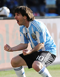 Lionel Messi (Argentina)  celebrates during the 2010 World Cup Soccer match between Argentina vs Korea Republic played at Soccer City in Johannesburg, South Africa on 17 June 2010.