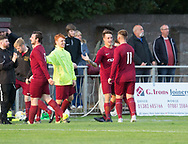 Cammy McGregor (2nd right) is congratulated after scoring FC Menziehill's third goal in the  Dundee Sunday Morning Football League, Adamson Cup Final between FC Menziehiull and Hilltown Hotspurs at North End<br /> <br />  - &copy; David Young - www.davidyoungphoto.co.uk - email: davidyoungphoto@gmail.com