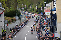 Splits start to show as Boels Dolmans set the pace the second time up the Cauberg at the Amstel Gold Race Ladies Edition - a 121.6 km road race between Maastricht and Valkenburg on April 16 2017 in Limburg, Netherlands.