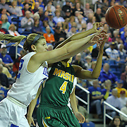 Delaware Guard Lauren Carra (22) deflects the ball away from George Mason Forward Amber Easter (4) in the first half of a regular season NCAA basketball game against Delaware Thursday, Jan 10, 2013 at the Bob Carpenter Center in Newark Delaware...Delaware (10-3; 1-0) defeated George Mason (5-8; 0-2) 62-27..Delaware is riding a four-game winning streak after defeating George Mason, St. John's in over- time on Jan. 2 Villanova (Dec. 29) and Duquesne (Dec. 30) to capture the 2012 Dartmouth Blue Sky Classic title.
